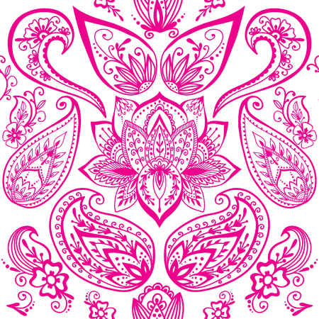 Henna tattoo mehndi flower doodle ornamental decorative indian design seamless pattern paisley arabesque embellishment vector.