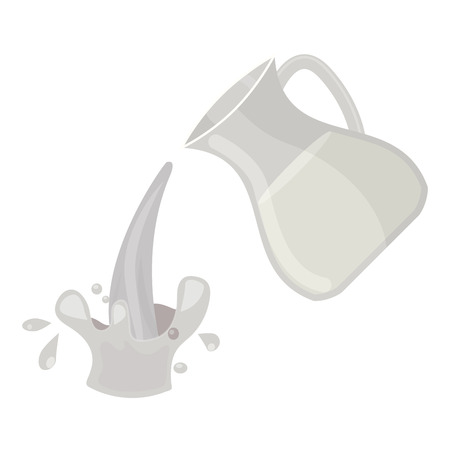 Jar of milk traditional nature nutritious pasteurized cream milky white drink beverage dairy fresh healthy product vector illustration. 向量圖像