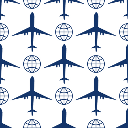Vector airplane illustration plane top view passenger trip and aircraft transportation travel way to vacation sky design journey international seamless pattern. Commercial tour speed aviation.