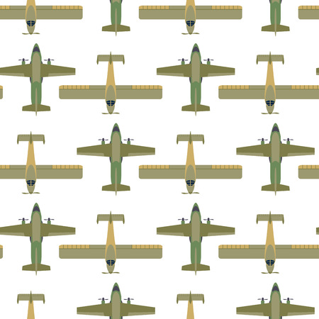 Vector airplane illustration top view and aircraft transportation travel way design journey seamless pattern.