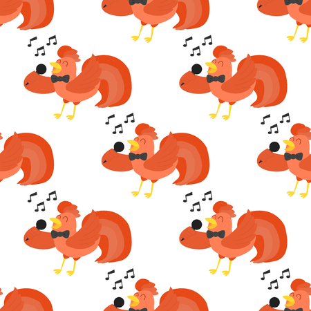 Cute cartoon singing rooster vector illustration chicken farm animal agriculture domestic character seamless pattern