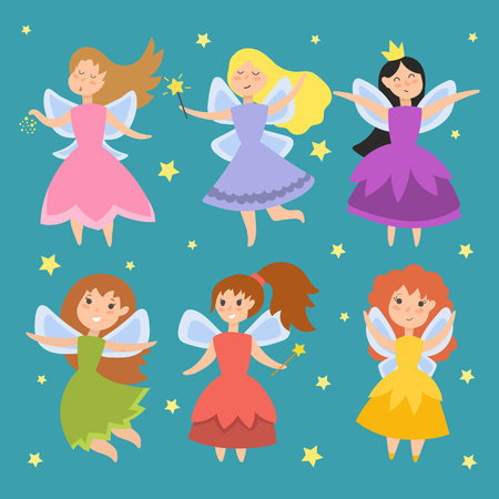 Cute girls in fly vector illustration. Fairy princess adorable characters. Imagination beauty angel with wings. Smile beautiful young butterfly magic fantasy kid. Illustration
