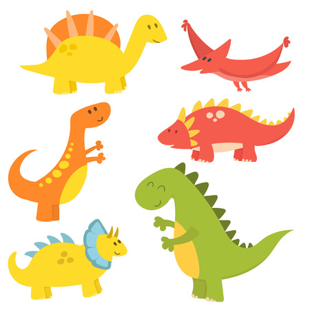 Cartoon dinosaurs vector illustration monster animal dino prehistoric character reptile predator jurassic fantasy dragon Çizim