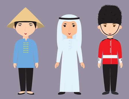 Diverse avatars cartoon characters different nationalities clothes and hair styles people vector illustration.