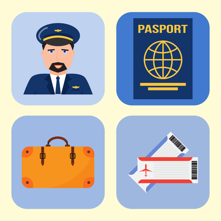 Aviation icons vector set airline graphic symbols airport pilot fly travel symbol illustration.