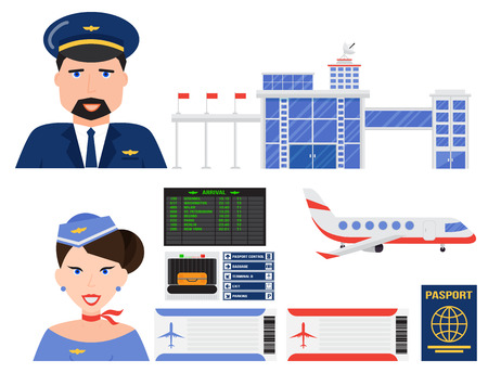 Aviation icons vector set airline graphic airplane airport transportation fly travel symbol illustration Stock Vector - 87122795