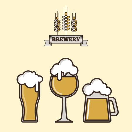 Vintage craft beer retro logo badge design emblems vector icons pub labels collection