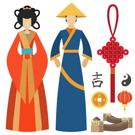 China man and woman east culture chinese traditional symbols vector illustration