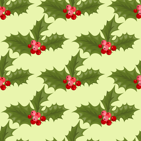 Christmas decorative leaves holly branches with winter red berries seamless pattern evergreen floral plant vector illustration