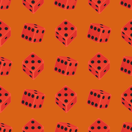 Isometric dice number lucky game fortune casino seamless pattern variants loss gamble cube vector illustration.