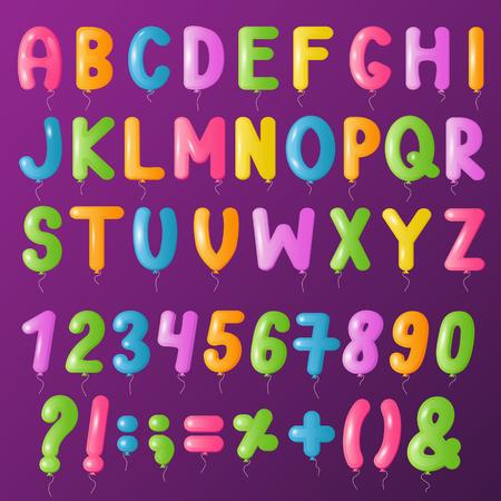 Balloons text alphabet vector symbols letters big set cartoon
