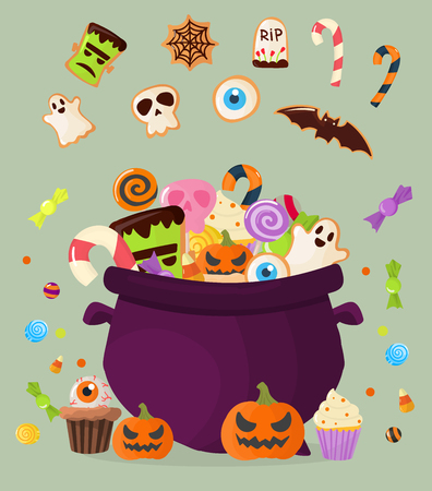 Halloween party cauldron colorful sweets cupcakes lollipops jelly beans cookies cake candies vector illustration.