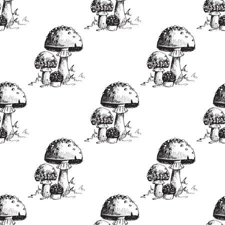 Amanita fly agaric toadstool mushrooms fungus seamless pattern art style design vector illustration. Ilustração