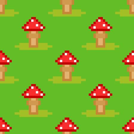 テングタケ属ベニテングタケ毒キノコ キノコ菌のシームレスなパターン アート スタイル デザイン ベクトルの図。