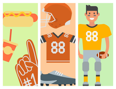 American football player and sport game icons vector cartoon style quarterback jumping success usa athlete