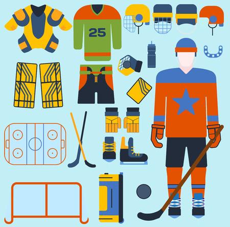 hockey goal: Hockey vector set icons and player