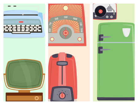 Retro vintage household appliances kitchenware antique cards design technology utensil vector illustration. Ilustração