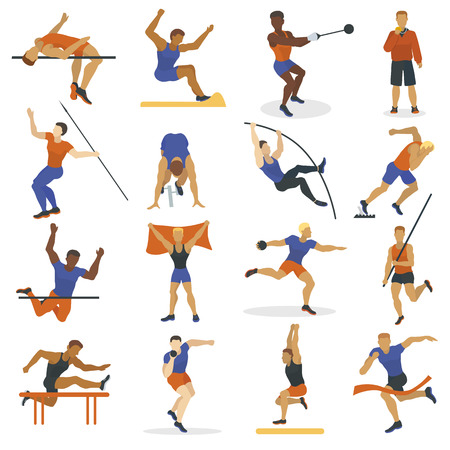 High jump athlete sport men athletics characters silhouette doing different track vector illustration. Illustration
