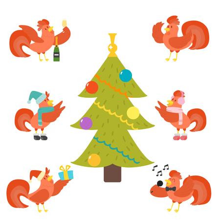 Cute Cartoon Hahn Vektor-Illustration Huhn Bauernhof Weihnachten Tier Landwirtschaft inländischen Charakter Standard-Bild - 87266811
