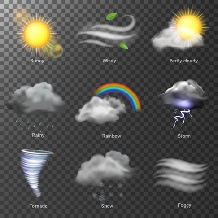 Météo réaliste 3d icônes vectorielles. définir soleil, nuage, arc en ciel, vent de tempête