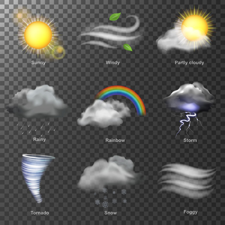 Weather realistic 3d icons vector. set Sun, cloud, rainbow, storm wind Illusztráció