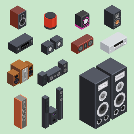 Accueil isométrique système sonore acoustique acoustique acoustique acoustique lecteur de musique vecteur de l & # 39 ; équipement de musique Banque d'images - 87287307