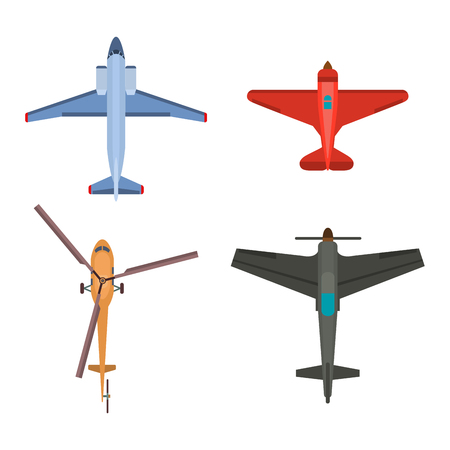 Vector airplane illustration top view and aircraft transportation travel way design journey object. 向量圖像