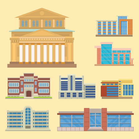 residential homes: City buildings modern tower office architecture house business apartment home facade vector illustration