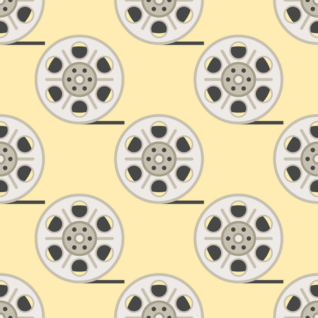 Film cinema technology seamless pattern vector twisted movie strip with round box roll illustration Stock Vector - 87287318
