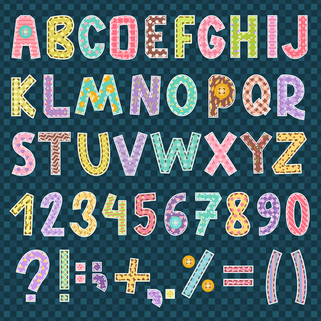 パッチワーク アルファベットのフォント シンボル スタイル装飾ベクトル図
