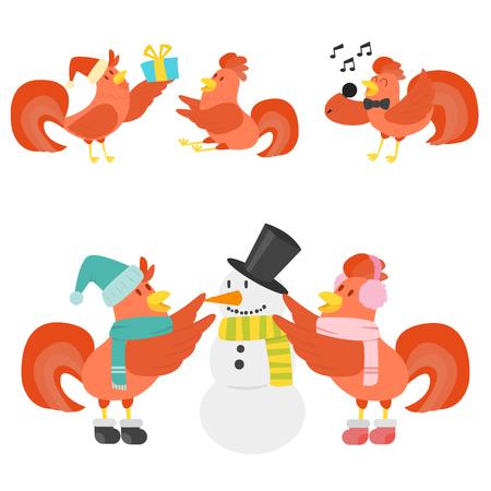Cute Cartoon Hahn Vektor Illustration Huhn Bauernhof Tier Landwirtschaft inländischen Charakter Standard-Bild - 87287326