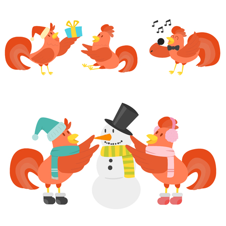 Cute cartoon rooster vector illustration chicken farm animal agriculture domestic character