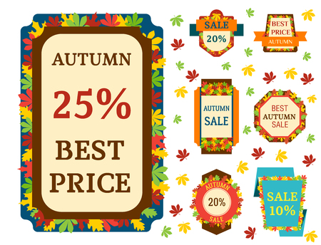 Super sale extra bonus autumn banners text label business shopping internet promotion discount offer vector illustration