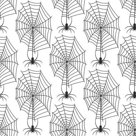 Spinnewebsilhouet spinachtige vrees grafisch vlak eng dierlijk ontwerp natuur insect gevaar horror halloween vector naadloos patroon.