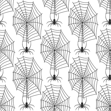 Spider web silhouette arachnid fear graphic flat scary animal design nature insect danger horror halloween vector seamless pattern. Illustration