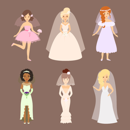 Wedding brides characters vector illustration celebration marriage fashion woman cartoon girl white ceremony dress