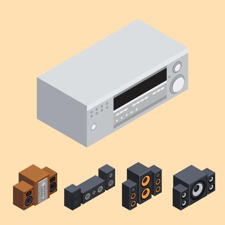 Accueil système de son isométrique stéréo acoustique 3d vecteur musique haut-parleurs lecteur technologie subwoofer équipement. Banque d'images - 87287339