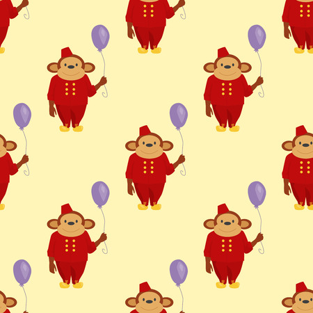 Circus cartoon monkey character animal wild zoo party balloon ape chimpanzee vector illustration seamless pattern background