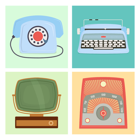 Retro vintage household appliances antique technology utensil vector illustration.