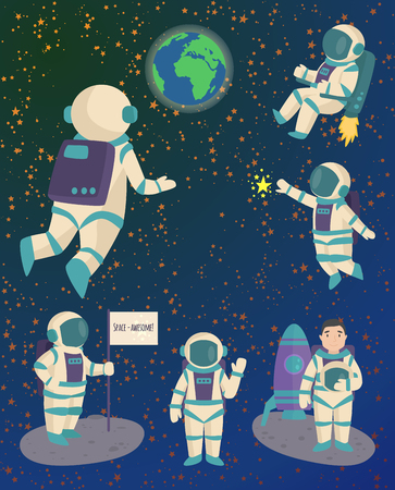 Vector astronauts in space, working character and having fun spaceman galaxy atmosphere system fantasy traveler man. Illustration