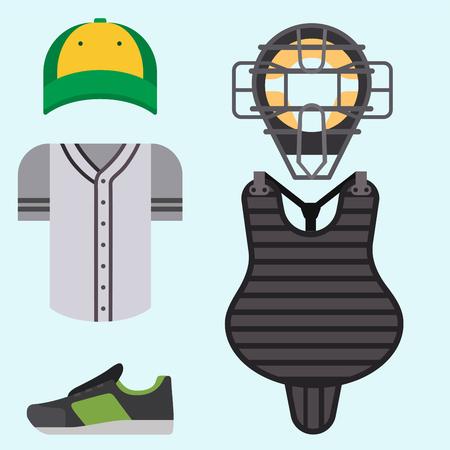 Cartoon baseball uniform player batting vector design american clothing shirt game athlete wear sport cloth. Ilustrace