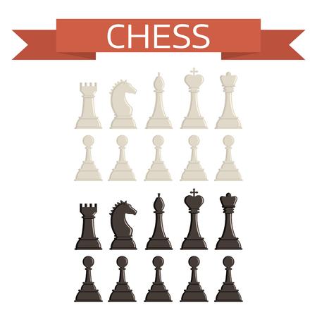 Schaakbord en schaakstukken vectorstrategie spelen vrijetijdsbesteding strijd keuze toernooi-instrumenten Stock Illustratie
