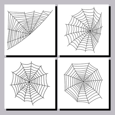 Spider web silhouette arachnid fear graphic flat scary animal design nature insect danger horror vector icon. Stock Vector - 87287363
