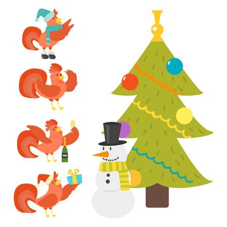 Cute Cartoon Hahn Vektor-Illustration Huhn Bauernhof Weihnachten Tier Landwirtschaft inländischen Charakter Standard-Bild - 87287364