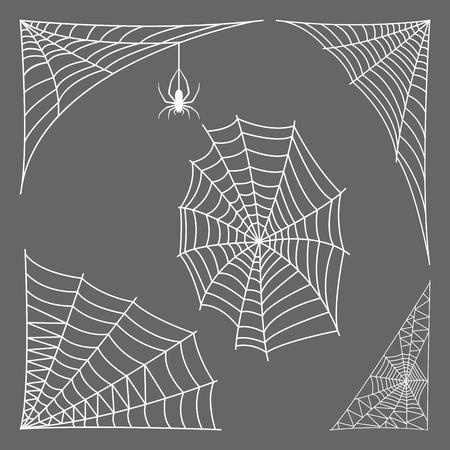 Spider web silhouet spinachtige angst grafische vlakke eng dier ontwerp natuur insect gevaar horror vector pictogram.