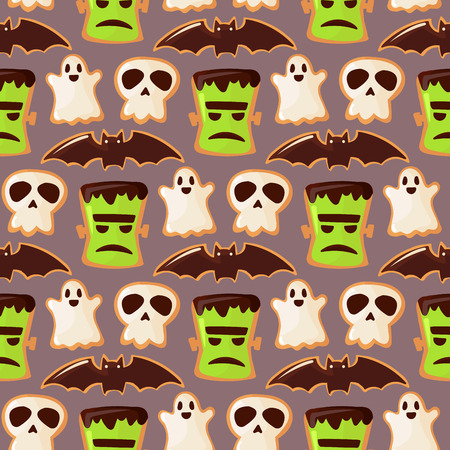 Ghost and skull zoombie head Halloween seamless pattern background vector illustration