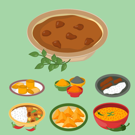 쌀과 야채 카레와 인도 치킨 jalfrezi 다양 한 스파이스 닭 레스토랑 건강 요리 음식 벡터 일러스트 레이 션.