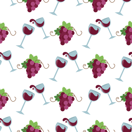 Vector wine seamless pattern with silhouettes of grape bakground organic celebration decorative fresh berry branch.