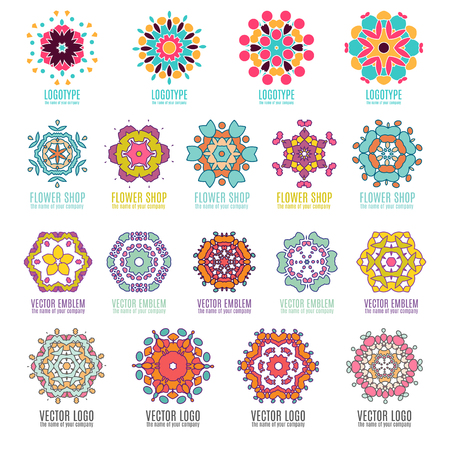 Abstract kaleidoscope geometry logo template badges vector illustation.