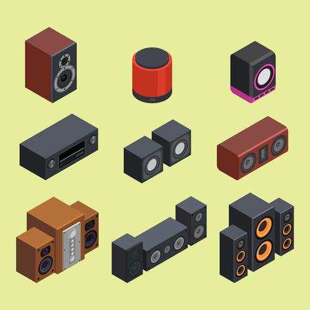 Accueil système de son isométrique stéréo acoustique 3d vecteur musique haut-parleurs lecteur technologie subwoofer équipement. Banque d'images - 87346377